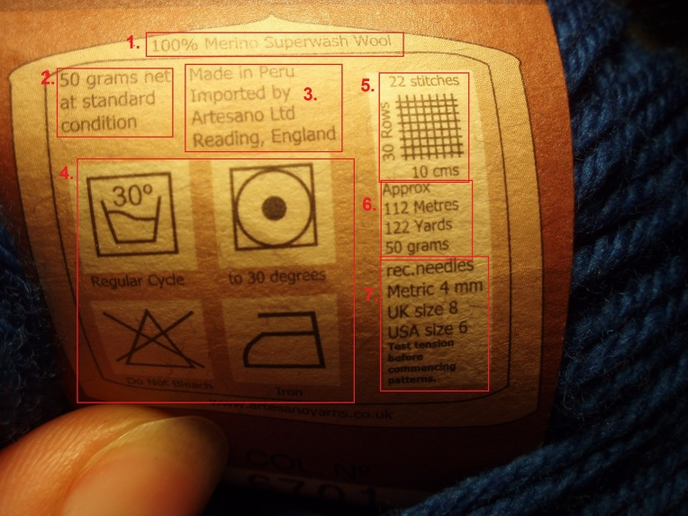 Typical yarn label detailed information