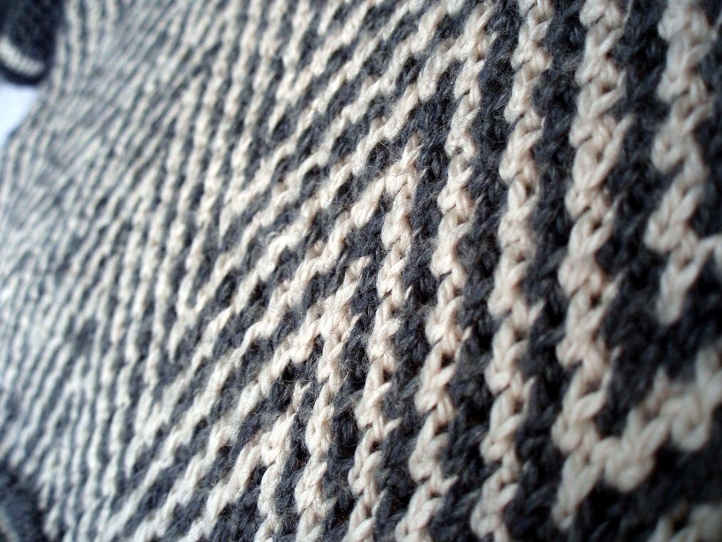 Zebra Chevrons In Slip Stitch or Mosaic Colourwork Catching Loops